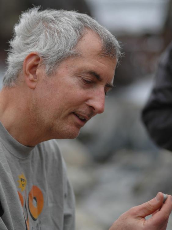 Rick examining a small rock